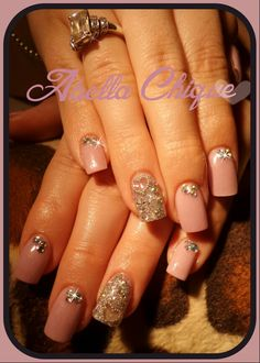 pink Acrylic Nails with Rhinestones and hearts