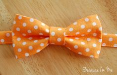 Boys Orange / White Dot Cotton Bow Tie, pre-tied and adjustable, bowtie in infant, toddler, child, preteen boy sizes