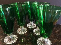 Set 5 Forest Green Anchor Hocking Burple Bubble Glass Iced Tea Goblets