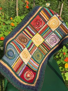 Hooked rug hit or miss design all wool made with beautiful colors, heritage…