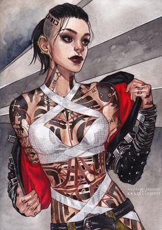 Cyberpunk Girl, Arte Cyberpunk, Cyberpunk Character, Cyberpunk 2077, Mass Effect Characters, Fantasy Characters, Female Characters, Female Character Design, Character Drawing