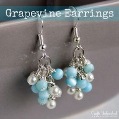 How To: DIY Grapevine Earrings. A basic beginner-friendly tutorial, but it includes great info on the # of beads to attach to each link for the grape/cluster effect.