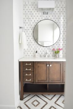 Hall Bathroom Makeover - love the polka dot tile backsplash and the geometric floor tile. Hall Bathroom, Bathroom Renos, Bathroom Vanities, Bathroom Remodeling, Bathroom Cabinets, Lowes Tile Bathroom, Glass Bathroom, Wood Bathroom, Cupboards