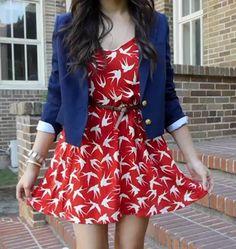 Bethany mota outfit-red bird print dress,blue blazer.