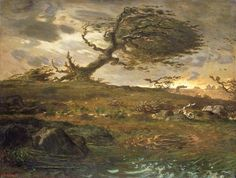 Jean-François Millet, The Gust of Wind, Oil on canvas. National Museum of Wales; Miss Margaret S. Davies Bequest, 1963 (nmwa Courtesy American Federation of Arts. Millet Paintings, Great Paintings, Landscape Paintings, Landscapes, Landscape Art, Claude Monet, Vincent Van Gogh, Blowin' In The Wind, Wind And Rain