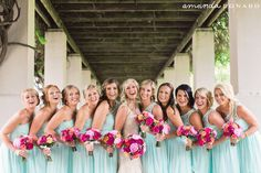 Teal bridesmaid dresses | Beautiful pink bouquets | Amanda Donaho Photography - Cincinnati Wedding Photographers