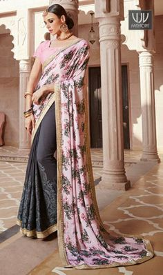 Invaluable Pink And Grey Color Georgette Designer Saree We have ensemble a symphony of enchanting piece to restyle your senses. Real beauty comes out from your dressing style with this pink georgette designer saree. This attire is showing some really mesmerizing and innovative patterns embroidered with embroidered a