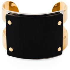 Marni Contrasting Panel Cuff ($520) ❤ liked on Polyvore featuring jewelry, bracelets, bracelets & bangles, jewels, black, marni, horn jewelry, metal bangles, cuff jewelry and metal jewelry