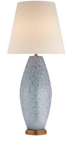 KELLY WEARSTLER   REVELLO TABLE LAMP. Richly textured, light grey lamp