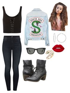 """""""Untitled #1542"""" by maddiebug2019 ❤ liked on Polyvore featuring Topshop, Mother, Evie & Emma, Steve Madden, Lime Crime, Ray-Ban and Suneera"""