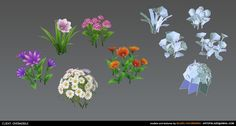 Low Poly Flowers, Błażej Kaczmarek on ArtStation at https://www.artstation.com/artwork/low-poly-flowers