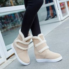 Hook Loop Furry Ankle Pure Color Warm Fur Lining Boots #snow #boots #female #women #girls #fashion #shoes #Top #winter #warm