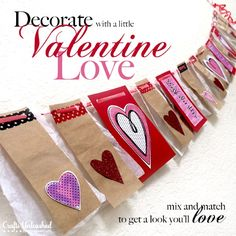 Who would have thought that paper bags can be very useful for a rustic Valentines day decoration theme. You just have to get the perfect scrapbook papers and ribbons to match with this very cheap material.  Read more at: http://pinklover.snydle.com/diy-valentines-day-decoration-ideas.html | I love Pink