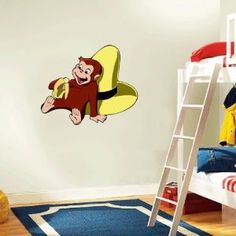 1000 images about elijah isaiah 39 s bedroom on pinterest for Curious george wall mural