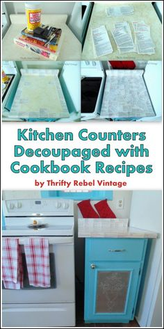 How to give dated kitchen counters an inexpensive makeover by decoupaging them with cookbook recipes.