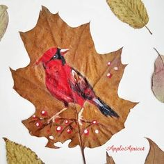 bird painting on leaf by AppleApricot Wen Painted Leaves, Nature Journal, Rooster, Colours, Autumn, Bird, Painting, Animals, Fall