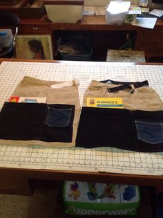 Skirt into back of seat organizers for car trip for boys.