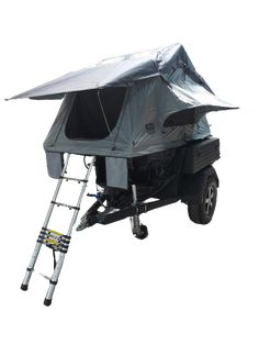 Adventure offroad trailer with rooftent open Adventure Trailers, Off Road Trailer, Offroad, 4x4, Tent, Europe, Camping, Campsite, Store