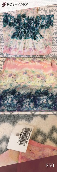 NWT Watercolor Maxi Dress NWT Brandy Melville Pink, Blue, Green, White and Yellow Colorful Watercolor Tie Dye Patterned Maxi Dress. Elastic, clinched waist. There is no Brandy Melville Tag on the dress expect for the removable one.  One Size-- (fits more like a XS, Small, or Medium)  ❗️Price Firm. No Trades.❗️ Brandy Melville Dresses Maxi