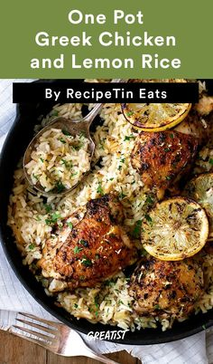 Greek Chicken and Lemon Rice These simple meals are like flavor explosions that require next-to-no cleanup. Dinner Party Recipes Main, Best Lunch Recipes, Most Popular Recipes, Dinner Ideas, Popular Food, Favorite Recipes, Amazing Recipes, Delicious Recipes, Easy Recipes
