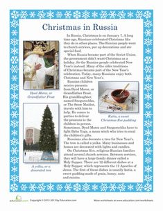 Christmas First Grade Comprehension Vocabulary Worksheets: Christmas in Russia