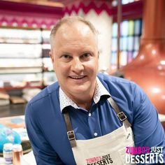 "Contestants on Season 2 of Zumbo's Just Desserts wear Cargo Crew ""Otto"" Aprons Gwyneth Paltrow, Bib Apron, Aprons, Netflix Channels, Zumbo's Just Desserts, Name Embroidery, Embroidery Services, Beauty Industry, Apron"