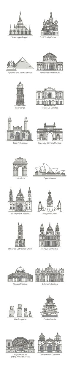 World's Famous Landmarks by eucalyp on @creativemarket