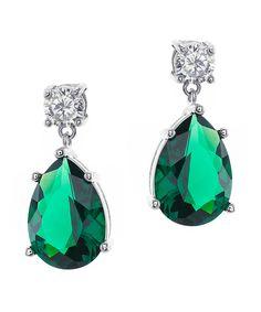 CZ by Kenneth Jay Lane 8cttw Round/pear Cz Ears. Emerald Green EarringsCubic  Zirconia ...