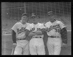 1964 - Baltimore Orioles manager Hank Bauer, Boston Red Sox manager Johnny Pesky, and Baltimore Orioles coach Harry Brecheen (#31).