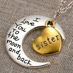 LOVE NECKLACE - brand new (010) Silver moon with gold heart 'i love you to the moon and back' Sister necklace.. Jewelry Necklaces