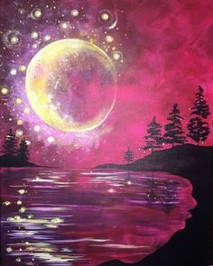 Whimsical pink beach painting with moon and bubbles. Cute beginner painting idea.