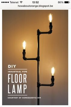 Selfmade Industrial lamp, Wanna know how?   http://howaboutorange.blogspot.be/2014/04/how-to-make-industrial-pipe-floor-lamp.html?m=1