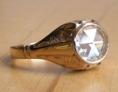 Large Rose Cut Diamond Engagement Ring - 14k Yellow and White Gold - Blossom Pattern