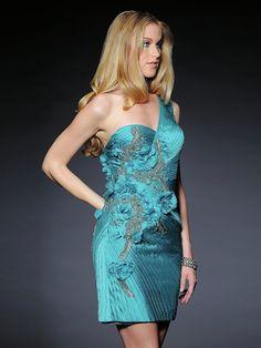 One-shoulder Neckline Sequins and Appliques Embellishment Taffeta Cocktail Dress