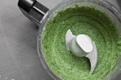 High protein, no oil #pesto.  Not traditional but yummy and more healthy.  Blend in Vitamix or food processor:  1 c tightly packed fresh basil leaves, 1 garlic clove, 15-oz  navy/cannellini beans (1.5 c), 1 T water, 2 T nutritional yeast, 2-3 T fresh lemon juice (1/2 lemon), 1/2-3/4 t kosher salt.  You can add olive oil to taste if you prefer!  Yield: 1.5 c