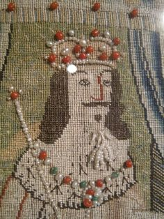 Margaret Dier Embroidery. Burrell collection. canvas work King Solomon, with beads and pearls.