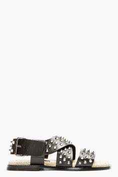 DSQUARED2 Black Leather Studded Sandal