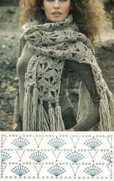 Xxl chunky crochet scarf with long fringes and fan stitch. Free crochet scarf pattern More Patterns Like This! Chunky Crochet Scarf, Crochet Wool, Crochet Chart, Love Crochet, Crochet Scarves, Crochet Clothes, Crochet Stitches, Crocheted Scarf, Shawl Patterns