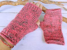BigSale Fingerless Mittens-Soft gray-rose от OriginalKnitting