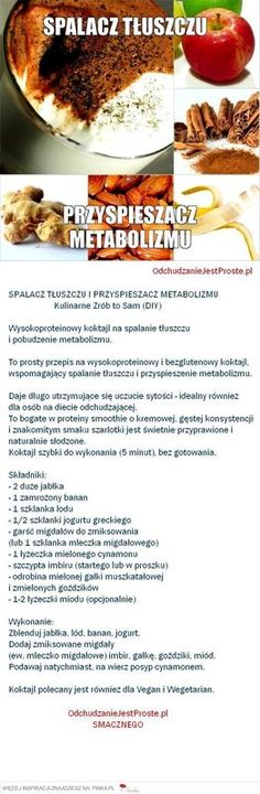 SPALACZ TŁUSZCZU I PRZYSPIESZACZ METABOLIZMU Healthy Recepies, Healthy Drinks, Diet Inspiration, Slow Food, Health Diet, Fitness Diet, Healthy Lifestyle, Healthy Living, Clean Eating