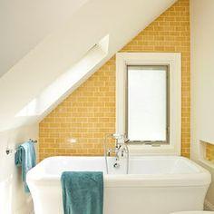 Yellow bathroom tile with white