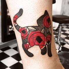 Kitty cat tattoo - dotwork blackwork with full red flowers