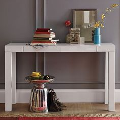 This might be a winner for a desk for a not a lot of depth space for the bedroom!     Parsons Console #WestElm
