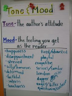 Tone  Mood are so hard to teach!  This is a great anchor chart to help students understand exactly what they are.