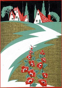 Vintage Art Deco Cottage Playing Card