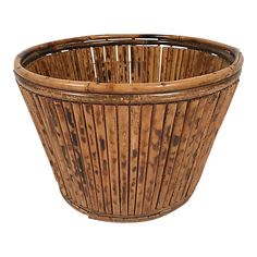 Generously-sized rounded pencil reed and bamboo planter basket with burnt tortoise shell finish. Looks fab with any plant style! Cheap Planters, Tall Planters, Basket Planters, Modern Planters, Outdoor Planters, Concrete Planters, Ceramic Planters, Hanging Planters, Flower Planters
