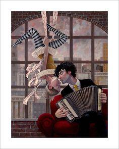 """""""Aerial and Accordion"""", ein Druck des Gemäldes von Aaron Jasinski, der oft musikalische und nostalgische Themen verbindet. Stichworte: #Accordion #Art #Painting #Print"""