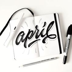 calendar lettering + calligraphy inspiration for hand lettering, illustration + typography projects Typography Love, Typography Quotes, Typography Inspiration, Typography Letters, Bubble Writing Font, Writing Fonts, April Calligraphy, Calligraphy Words, Brush Lettering