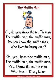 This is an example of a rhyme which involves repetition. The Muffin Man. 1975 The_Muffin_Man_printable_nursery_rhymes. Nursery Rhymes Lyrics, Nursery Rhymes Preschool, Nursery Rhyme Theme, Nursery Rhythm, Nursery Rhymes Songs, Songs For Toddlers, Rhymes For Kids, Kids Songs, Children Rhymes