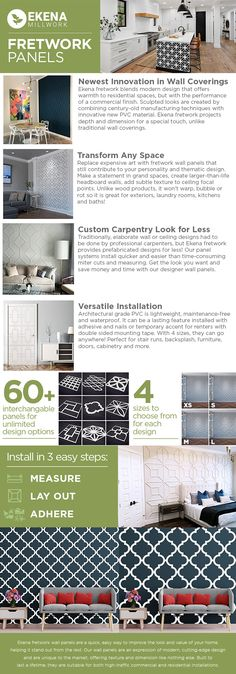 Ekena Millwork 3/8 in. x 23-3/8 in. x 23-3/8 in. Large Marrakesh White Architectural Grade PVC Decorative Wall Panels-WALP24X24MRK - The Home Depot Pvc Wall Panels, Decorative Wall Panels, Empty Wall Spaces, Interior And Exterior, New Homes, Architecture, Soundproofing Walls, Room Dividers, Marrakesh